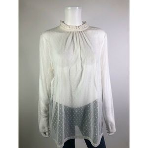 Halogen White Sheer Polka Dot Long Sleeve Blouse